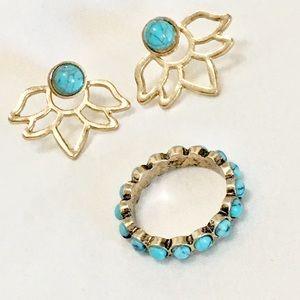 Chloe + Isabel Golden Lotus Turquoise Ring